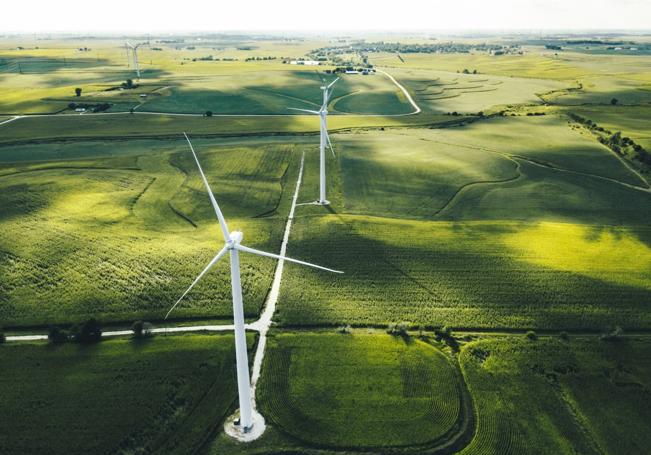 drone view of wind turbines during wind turbine inspection